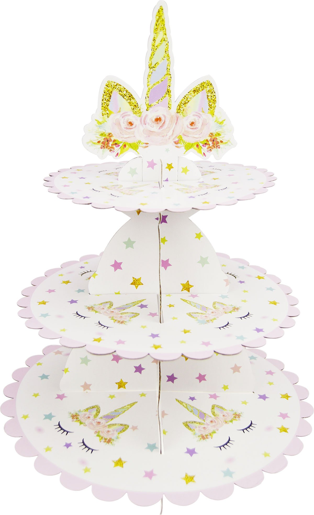 Betop House 3-Tire Unicorn Themed Party Cupcakes Muffins Dessert Stand Party Supplies