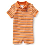 Ralph Lauren Baby Boys Striped Cotton Polo Shortall, Classic Peach Multi, 9 Months