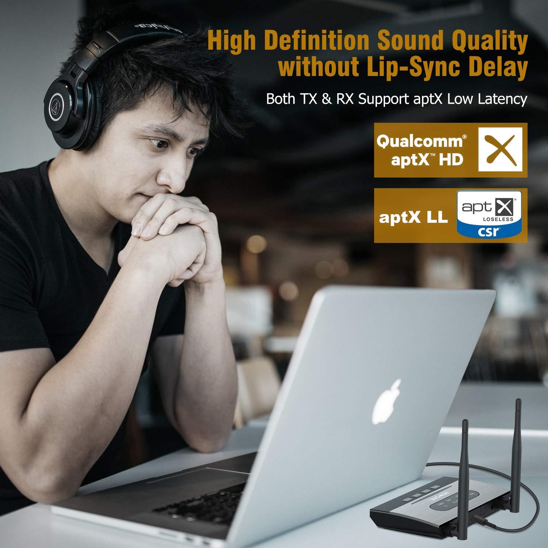 Adaptadores de Audio de 3,5 mm Inal/ámbricos 3 en 1 de Amplio Alcance de 263 pies // 80 m y Cable /Óptico y RAC Hosome Bluetooth 5.0 Transmisor y Receptor Aptx HD de Baja Latencia para TV