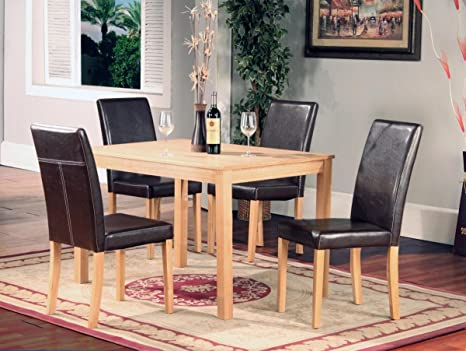 Cool Kelsey Stores Ashdale 5 Pcs Oak Dining Table And 4 X Black Or Brown Faux Leather High Back Chair Set Wood With Brown Chairs Gamerscity Chair Design For Home Gamerscityorg