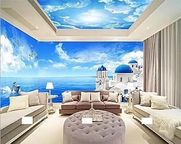 KUKI Blauer Himmel Und Weiße Schlafzimmer Wohnzimmer Decke Decke Tapete  Hotel Restaurant 3D Wallpaper Große Wandbilder