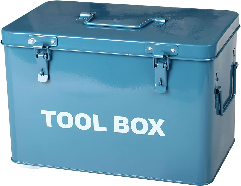 Simpa® Blue Metal Toolbox Retro Vintage Style Single Tray Tool Box with Lockable Lid (Padlocks Not Supplied) 21cm(H) x 31cm(W) x 19cm(D) Dads Tool Box Garage Storage Shed Tool Box