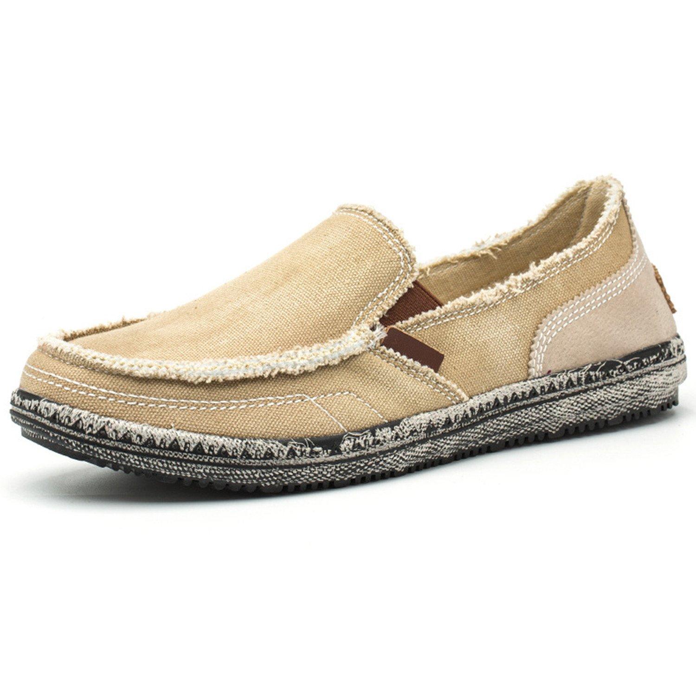 Centipede Demon Lightweight Slip on Loafers Shoes Men's Casual Canvas Shoe Khaki 8 D(M) US