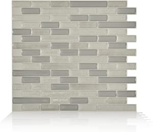 """Smart Tiles Self Adhesive Wall Tiles - Muretto Beige - 4 Sheets of 10.20"""" x 9.10"""" (25.91 cm x 23.11 cm) Kitchen and Bathroom Stick on Tiles - 3D Peel and Stick Backsplash"""
