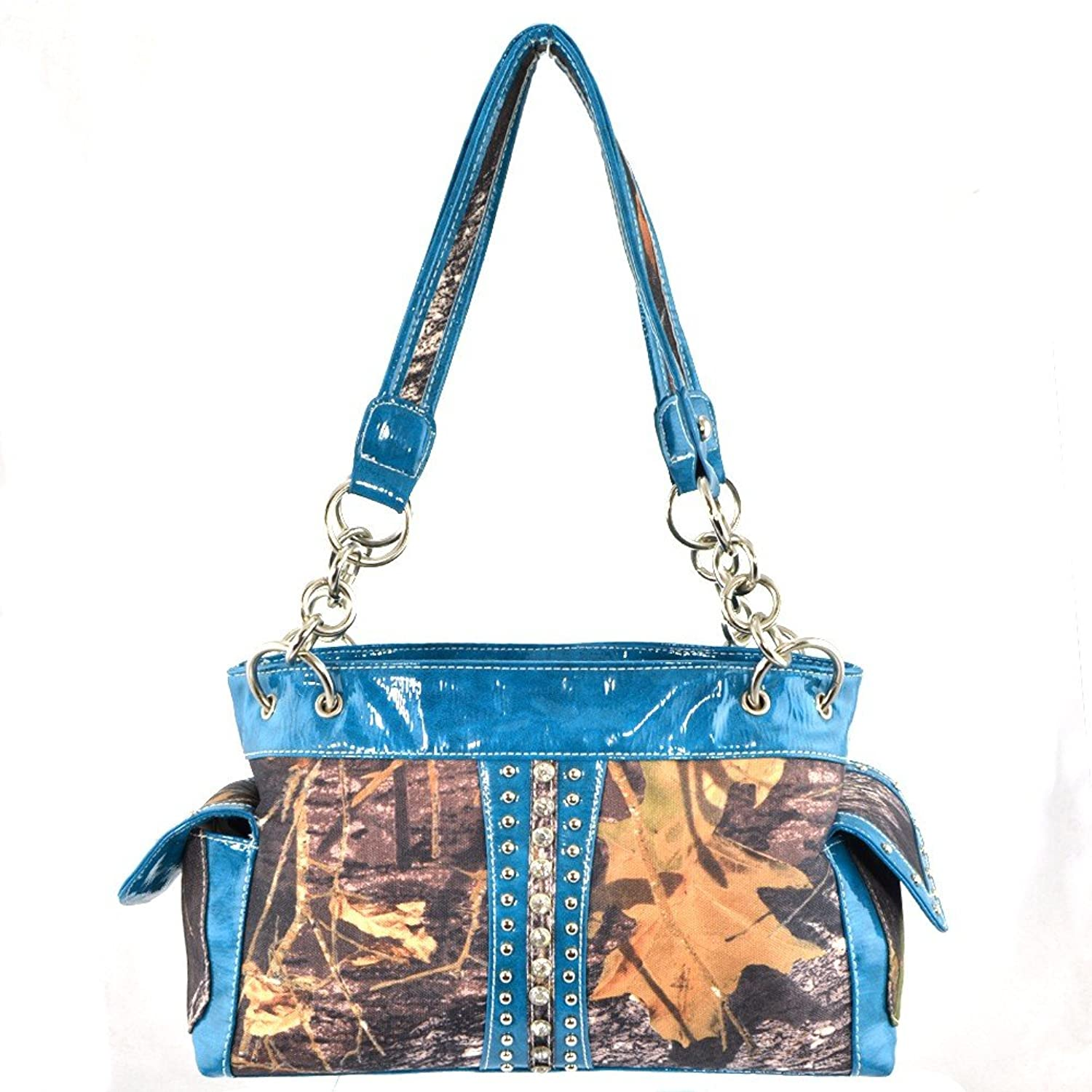 Western Camouflage Rhinestone Studded Shoulder Bag-Blue