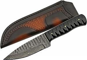 SZCO Supplies Damascus Steel Horn Shark Tooth Knife Hunting Knife