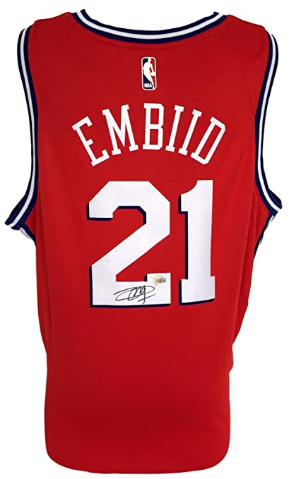 detailed look 1f0e9 b032c Joel Embiid Signed Philadelphia 76ers Red Nike Swingman ...