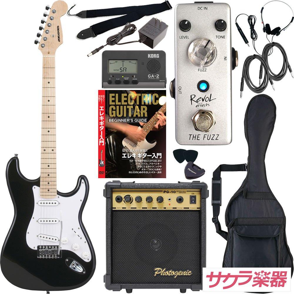 SELDER セルダー エレキギター ストラトキャスタータイプ ST-16/MBK サクラ楽器オリジナル Revol effectsエフェクター入門セット 【ファズ THE FUZZ/EFZ-01】 B075ZPB93P MBK
