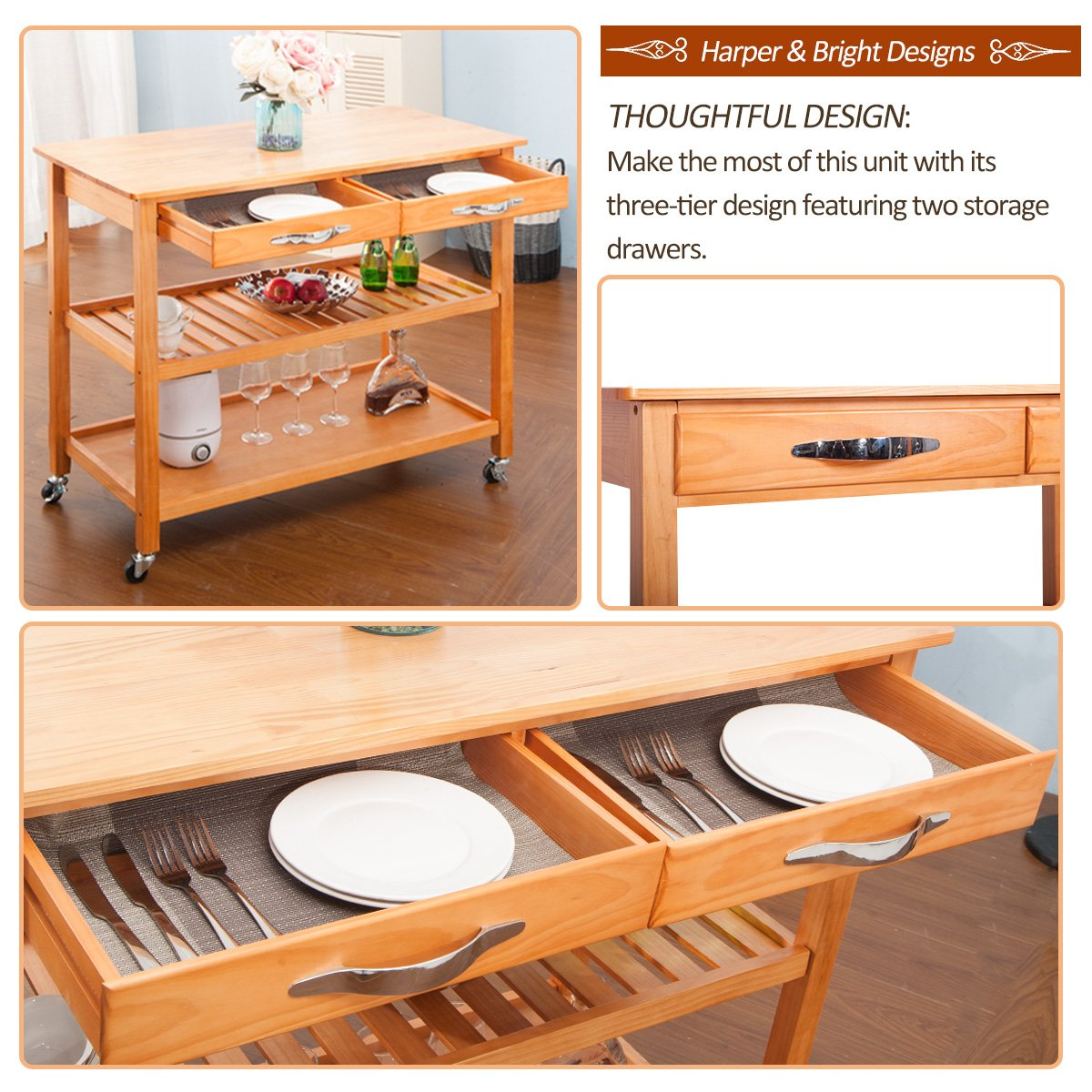 Harper&Bright Designs with Drawers & Shelves (Walnut) Kitchen Dining Trolley Cart by Harper&Bright Designs (Image #5)