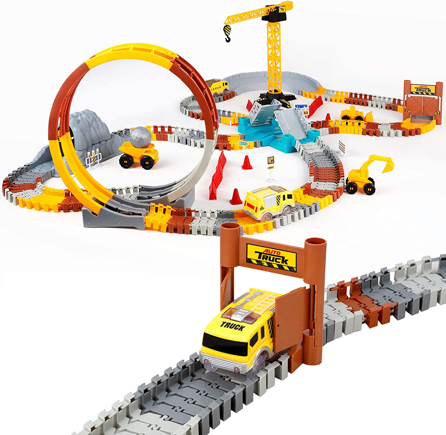 226pcs Construction Themed Race Tracks Set, Flexible Trains Tracks With 2 Race Trucks, Toy Cars Set for 2 3 4 5 6 7 Years Old Child Kids Boys and Girls, Road Race Playset for Christmas Birthday Gift