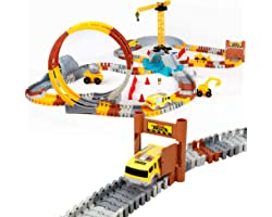 226pcs Construction Themed Race Tracks Set, Flexible Trains Tracks With 2 Race Trucks, Toy Cars Set for 3 4 5 6 7 Years Old C