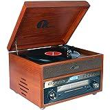 1 BY ONE Giradischi Vintage Classico in Legno Giradischi Bluetooth Nostalgia per Vinili con AM/FM, CD, MP3, Registra su USB, Ingresso AUX per Smartphone e Tablet e Uscita RCA