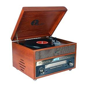 1byone Giradischi Vintage Classico in Legno Giradischi Bluetooth Nostalgia per Vinili con AM/FM, CD, MP3, Registra su USB, Ingresso AUX per Smartphone e Tablet e Uscita RCA