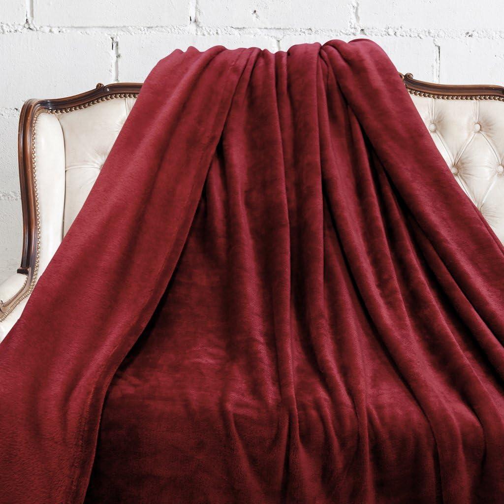 Douce au Toucher Ne perd pas sa Couleur LANGRIA Couverture Plaid Sofa et Lit en Microfibre de Polyester Bordeaux Souple Entretien Facile /à la Machine 150x200cm Chaude