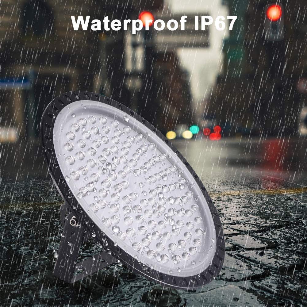 IP65 Wasserdichte UFO LED Industrielampe LED Strahler Abstrahlwinkel 120/° 50W LED UFO Beleuchtung 5000LM kaltwei/ß 6000K LED High Bay Licht LED Hallenstrahler Hallenbeleuchtung