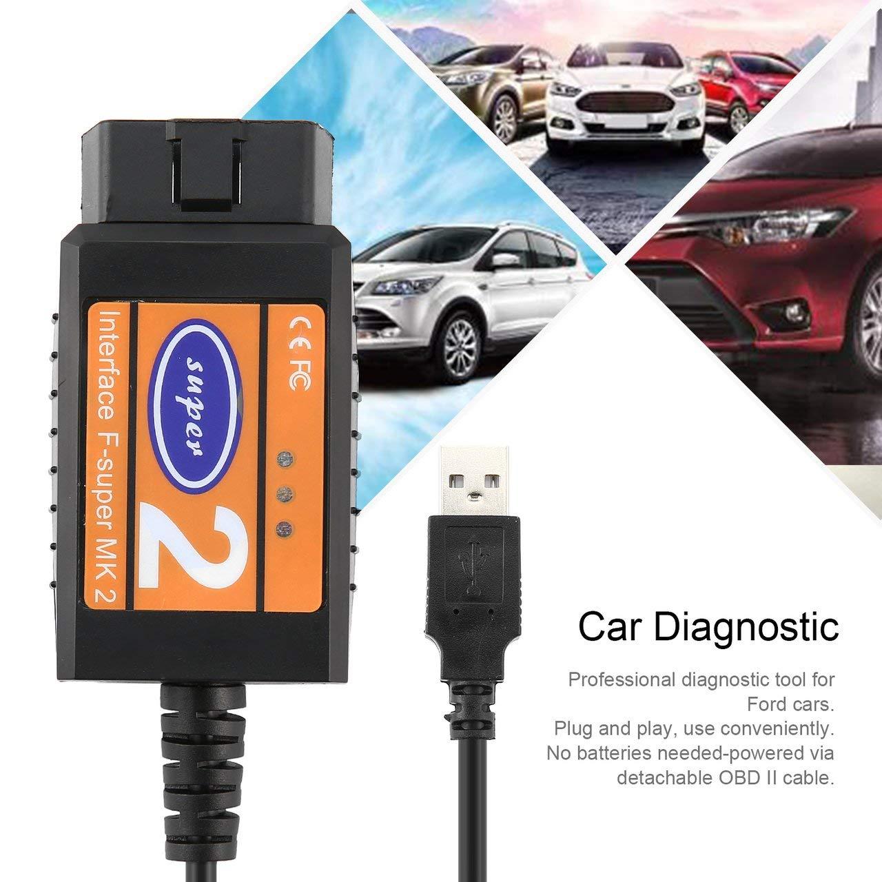 Jasnyfall Car Diagnostic Scanner Obd2 Scanner Super 2 Obd2 Usb Scan Tool Car Diagnostic Fault Scanner Code Reader For Ford