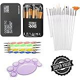Store2508™ Makeup Brush Set with 12 Brushes and Metal Storage Box + Nail Art Brush 15 Pcs + Nail Dotting Tool 5 Pcs + Nail Pallette.