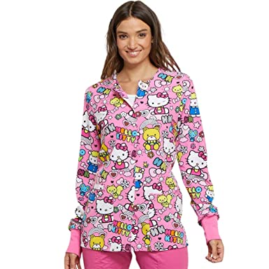 c459b85e5a8 Image Unavailable. Image not available for. Color: Cherokee Tooniforms  Women's Snap Front Hello Kitty Print Scrub Jacket ...