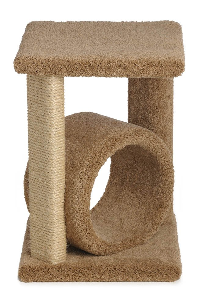 24 Inch Corner Cat Perch with Tube with One Sisal Leg (Off White)