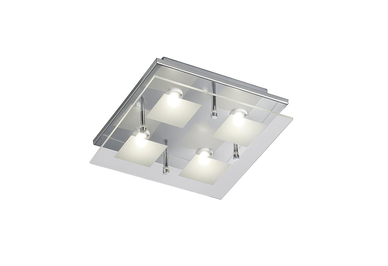 Deckenleuchte 4-flammig Trio Leuchten LED-Deckenleuchte chrom, Glas klar   satiniert 627910406 [Energieklasse A+]