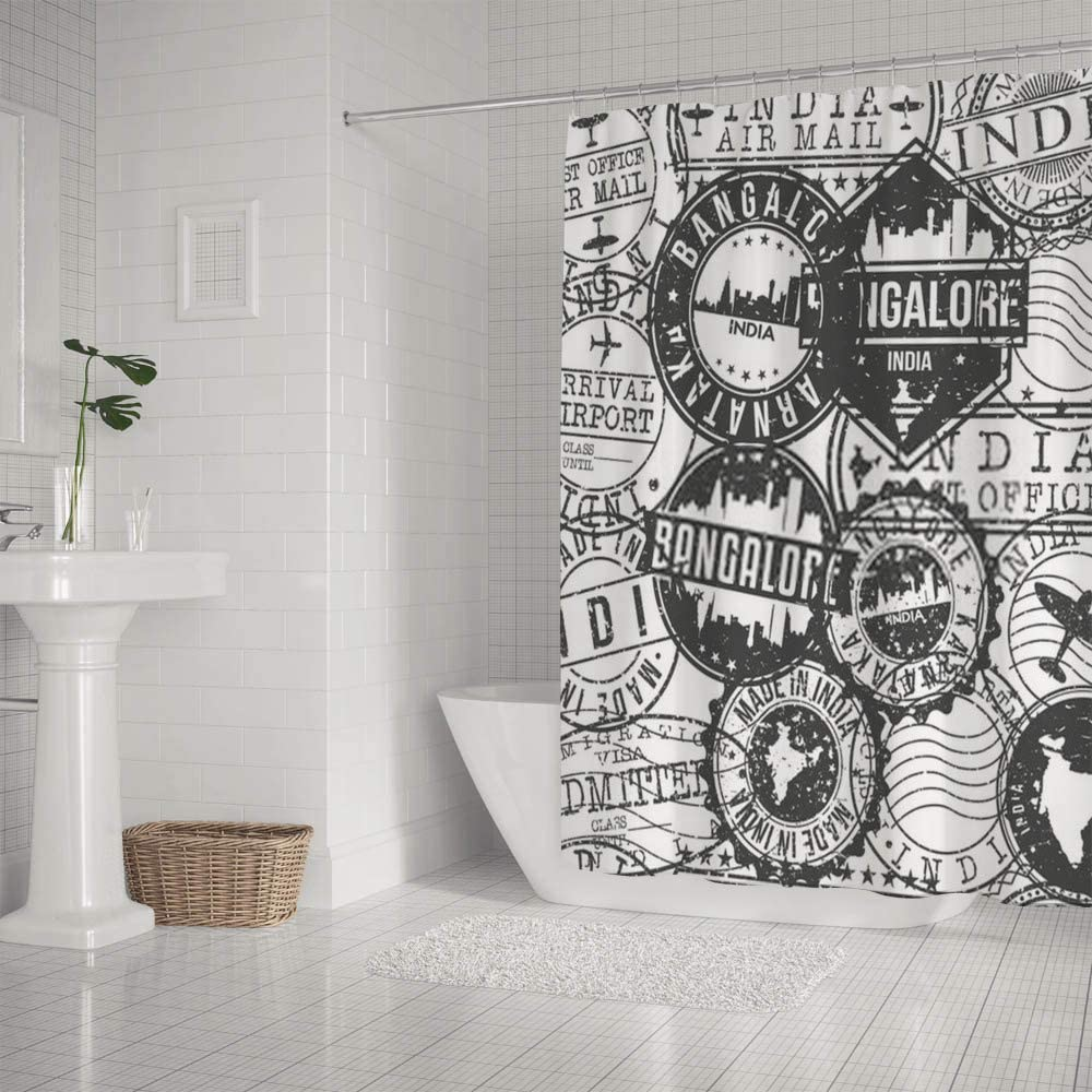 Amazon Com Kuizee Shower Curtain Waterproof Bangalore India Stamps Retro Bath Curtains Polyester Decor Bathroom 66x72inch Water Repellent Bath Curtain Easy Install Home Kitchen