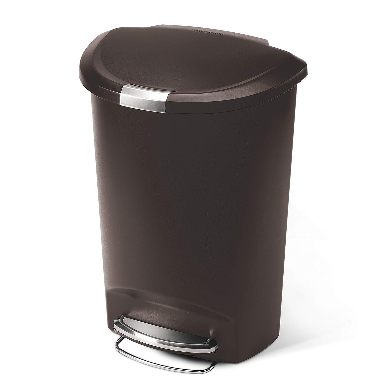 simplehuman 50 Liter / 13 Gallon Semi-Round Kitchen Step Trash Can, Mocha Plastic With Secure Slide Lock