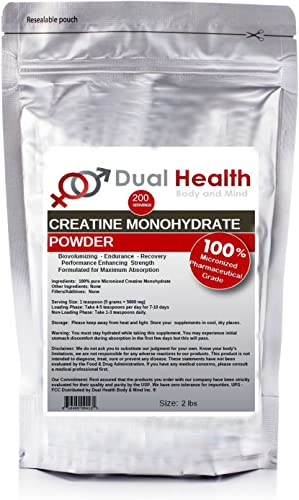 Pure Micronized Creatine Monohydrate Powder 2 lb Bulk Supplements
