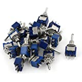 Uxcell a15010500ux0842 SPDT ON-OFF-ON 3 Pin Latching Miniature Toggle Switch, 20 Piece, AC125V 6 Amp