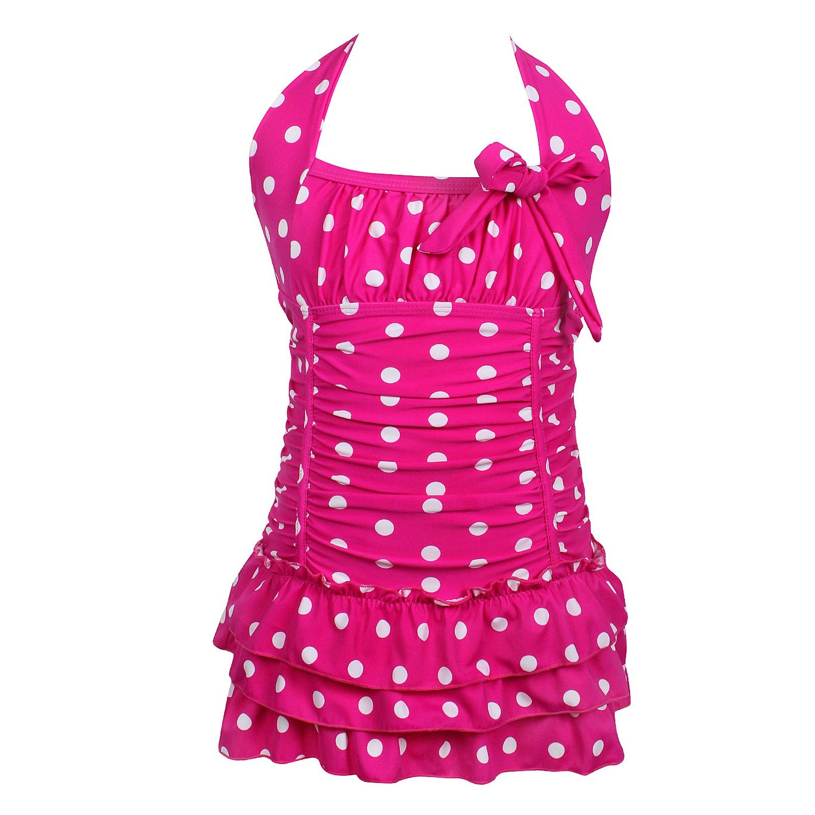 qyqkfly Girls Polka Dot Bathing Suit Adjustable One Piece 4Y-16Y Swimsuit (FBA)