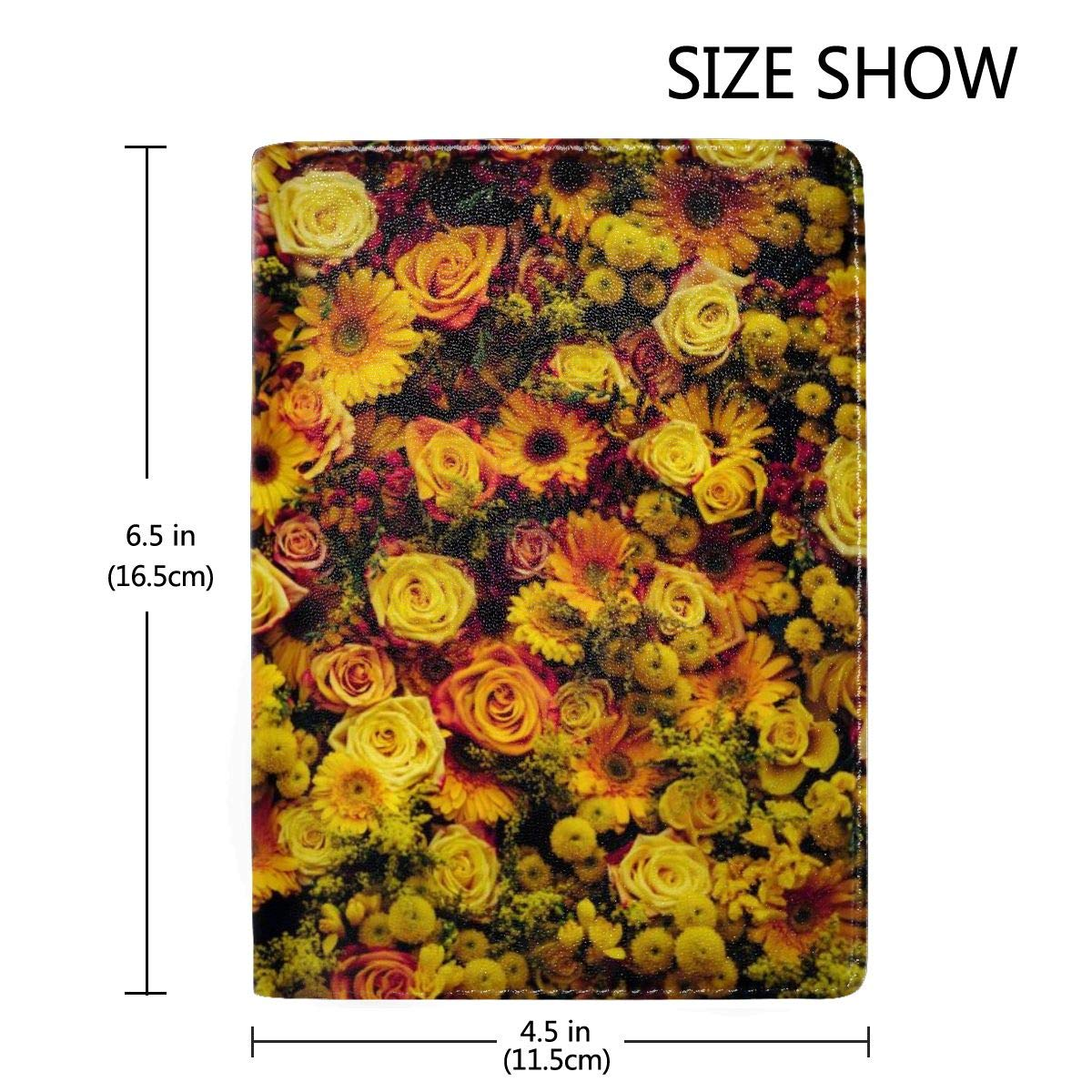 Yellow Rose Daisy Fashion Leather Passport Holder Cover Case Travel Wallet 6.5 In