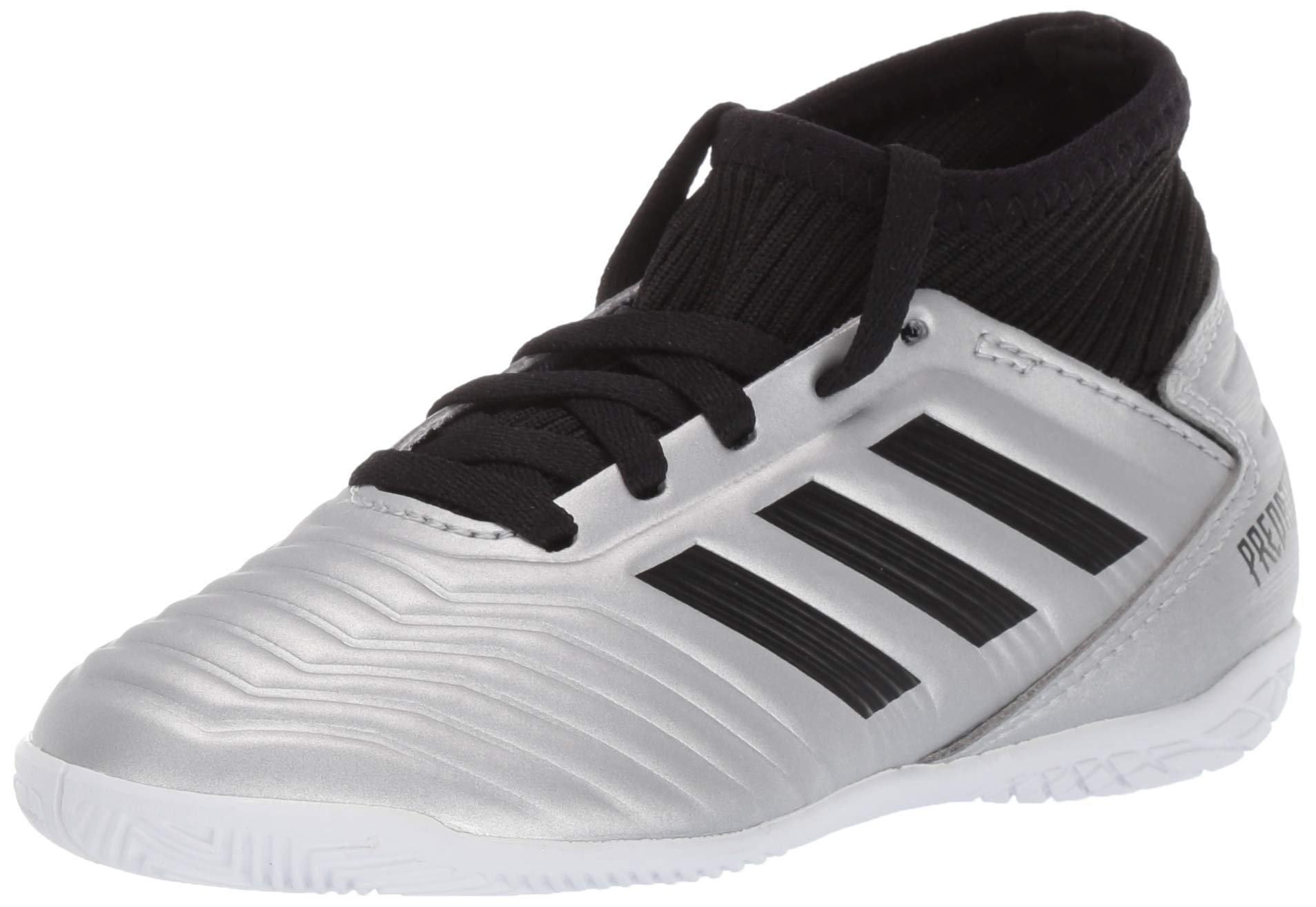 adidas Unisex Predator 19.3 Indoor Soccer Shoe, Silver Metallic/Black/hi-res red, 10.5K M US Little Kid