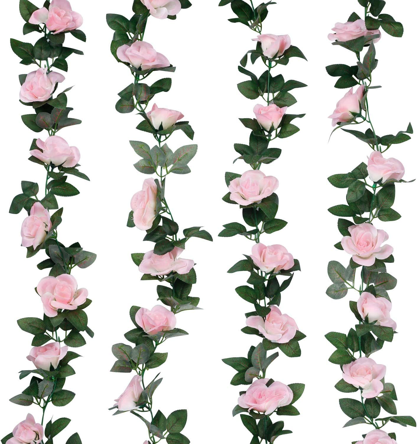 LIVILAN Artificial Flowers Fake Roses Vine Garland Hanging Rose Ivy Plants for Home Decor Wedding Arch Wall Decoration Garden Craft Office Party Hotel Pink