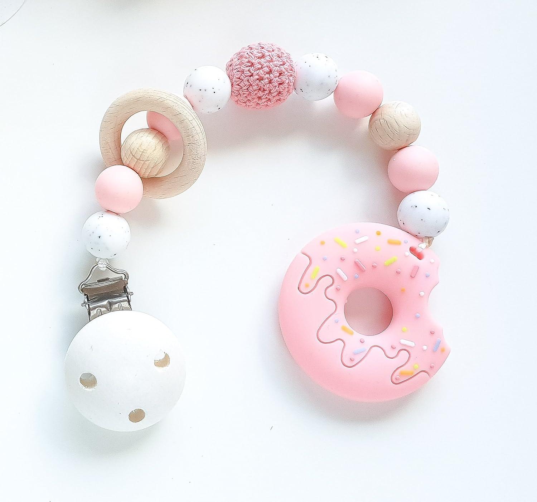 Beißkette Donut in Pink und Kies Zahnungshilfe für Babys