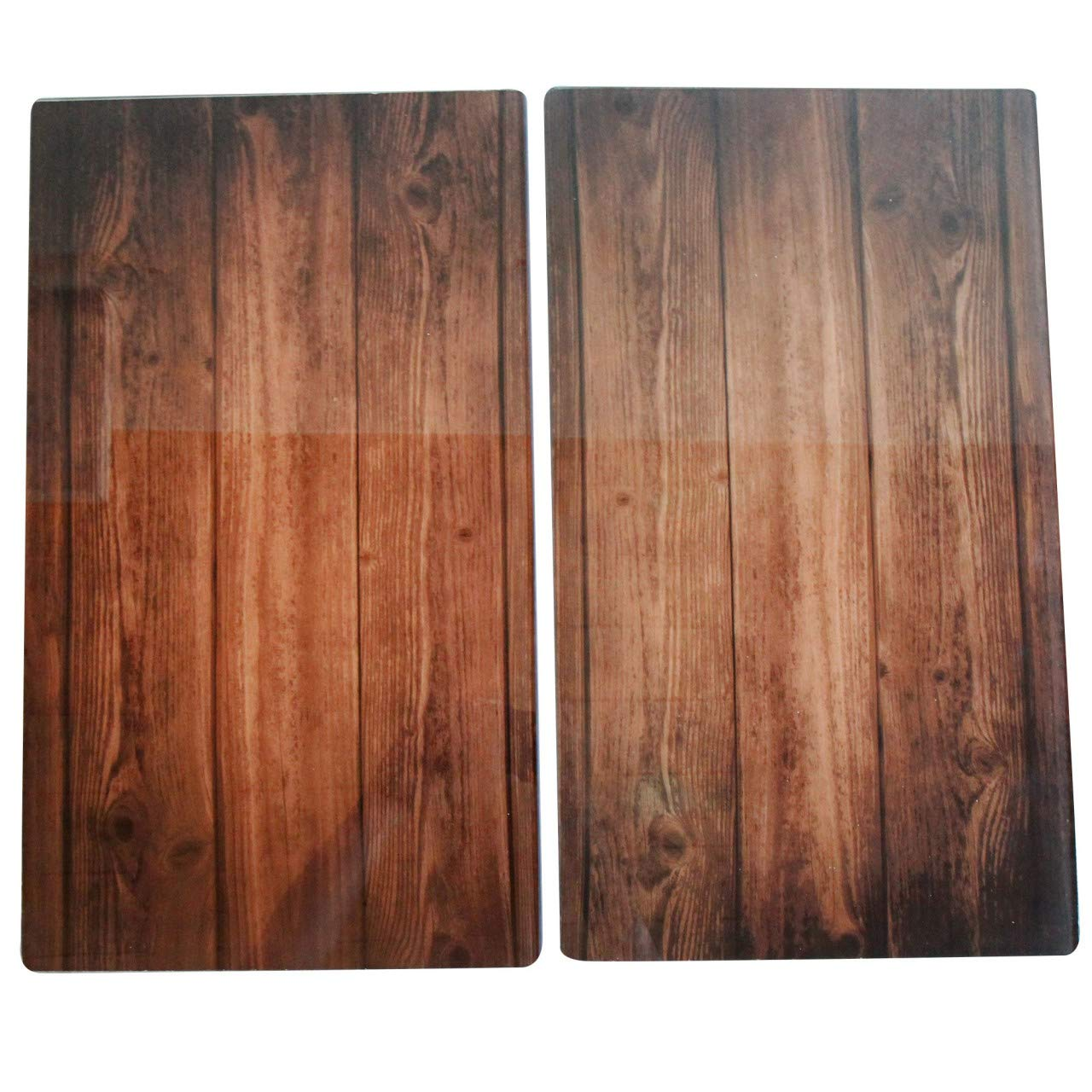 Stoneline 17899/wooden effect glass stove cover//chopping board set 2/pieces 52/x 30/x 0.4/cm plate 53/x 31/x 8/cm 2/units glass nature