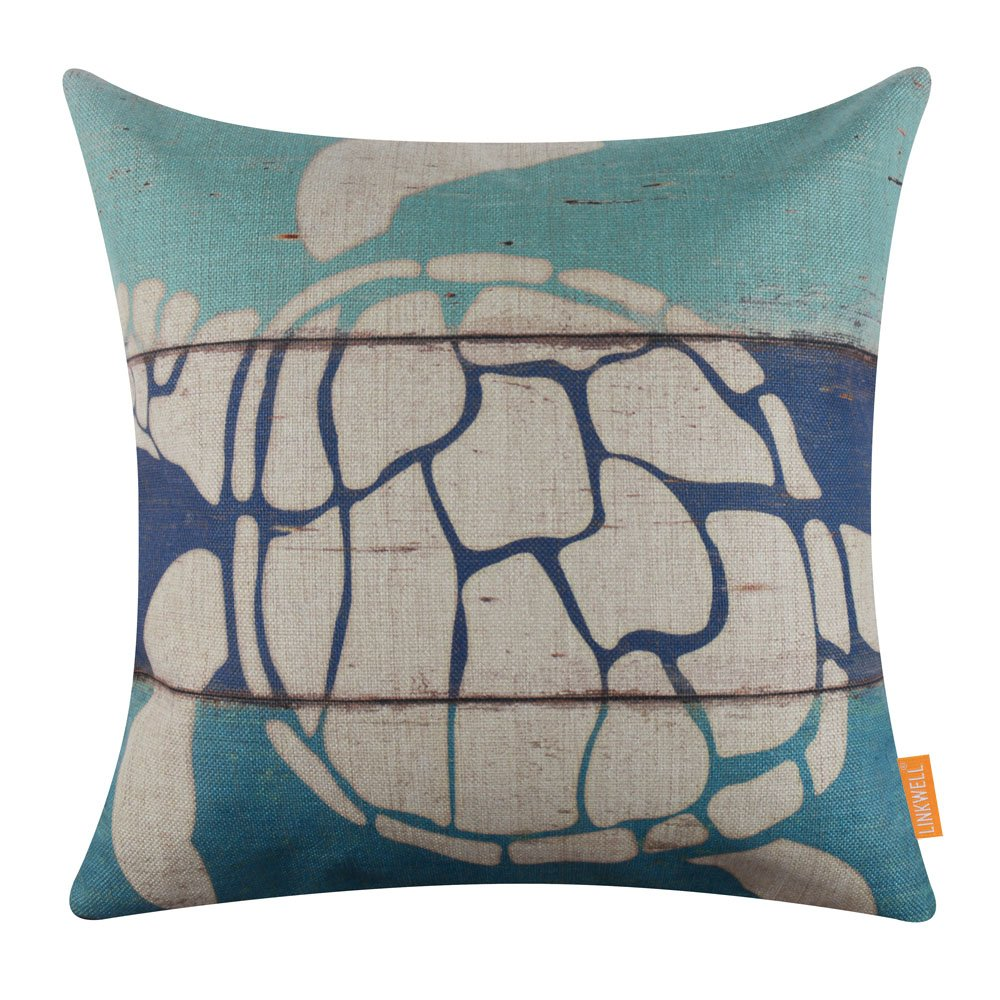 LINKWELL 18x18 inches Vintage Wood Slat Turtle Burlap Throw Pillow Cover Cushion Cover (CC1282)