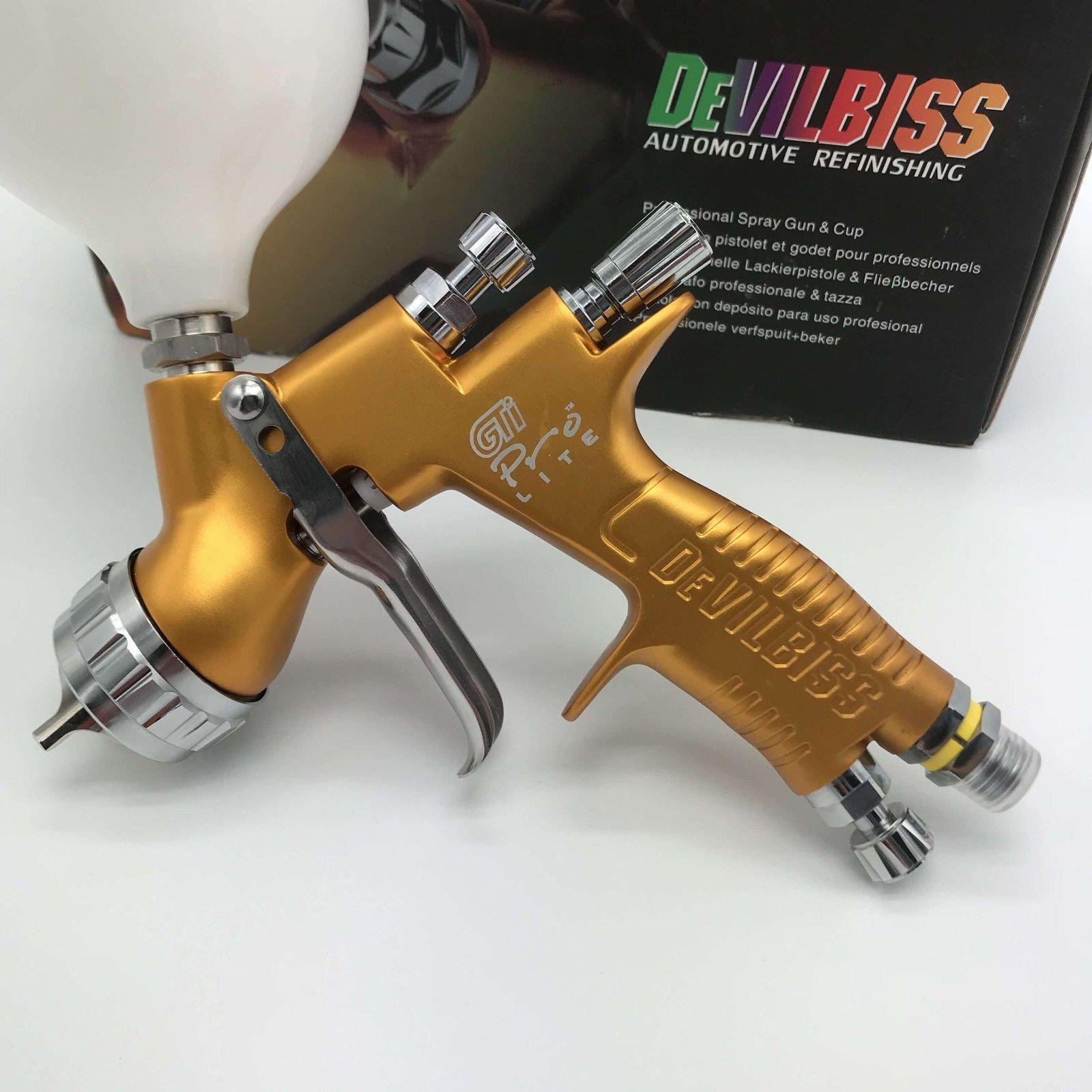 devilbes Professional Sparyer GTI PRO LITE Gold 1.3mm Nozzle w/t Cup TE20 Cap Car Paint Tool Pistol Spray Gun by devilbes (Image #1)