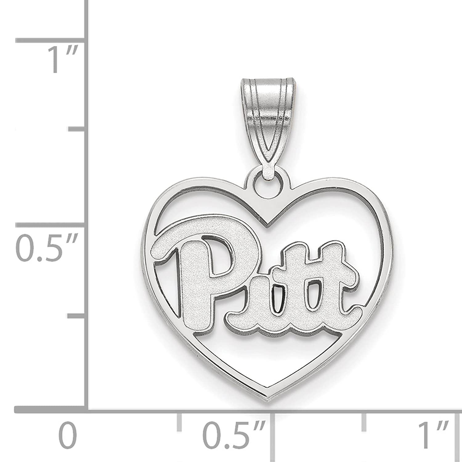 925 Sterling Silver Rhodium-plated Laser-cut University of Pittsburgh Heart Pendant