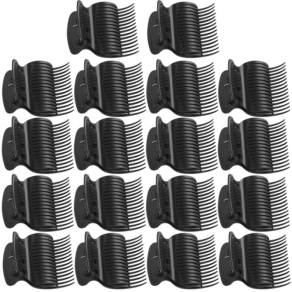 18 Pieces Hot Roller Clips Plastic Hair Curler Claw Clips Replacement Roller Clips for Small, Medium, Large and Jumbo Hair Rollers (Black)