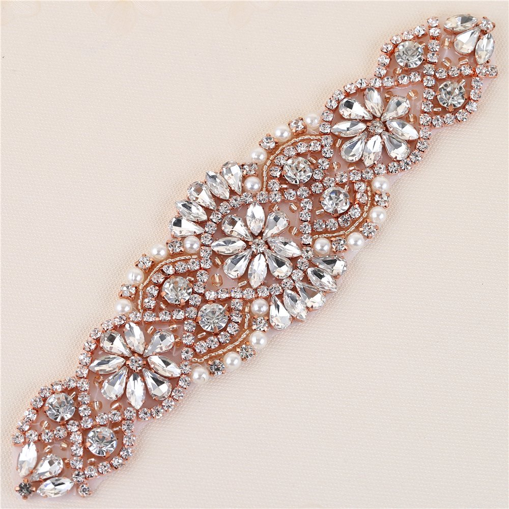 XINFANGXIU Crystal Bridal Wedding Belt Applique, Rhinestone Sash Applique Pearls Beaded Dacorations Handcrafted Sparkle Sewn or Hot Fix for Women Gown Evening Prom Clothes - Rose Gold