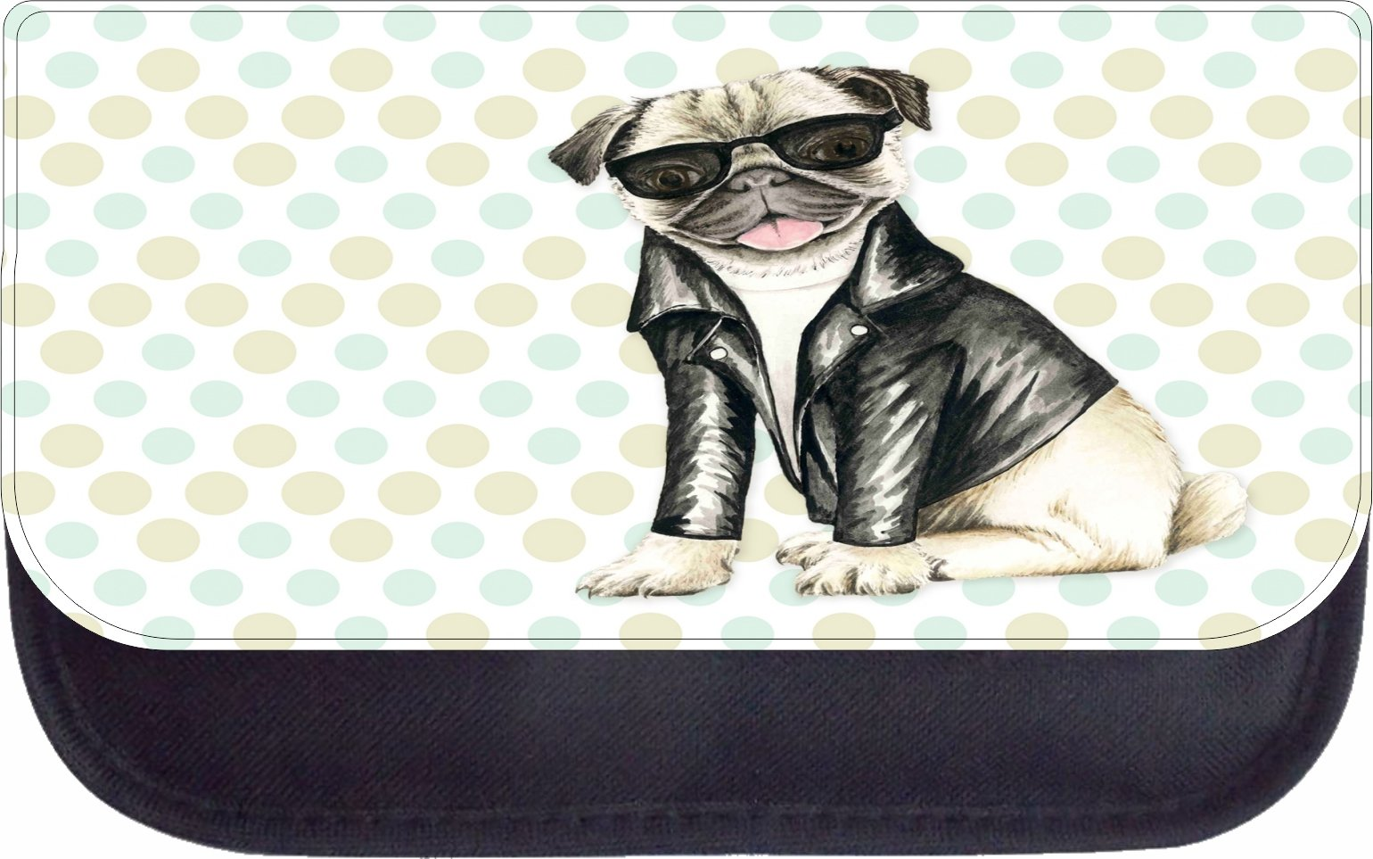 Vintage Retro Style Hippie Pug Puppy Dog in Black Shades and a Motorcycler's Jacket - 5'' x 8.5'' Black Multi-Purpose Cosmetic Case - Bag - with 2 Zippered Pockets and Nylon Lining by Rosie Parker Inc.