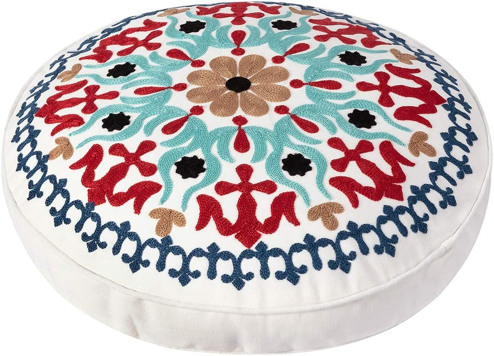 Embroidered Bohemian Round Floor Pillow, Ethnic Boho Cotton Cushion for Living Room Bedroom Balcony Yoga Room Car Office Outdoor, Home Decor Colorful Pouf Ottoman (18 inch Approx)