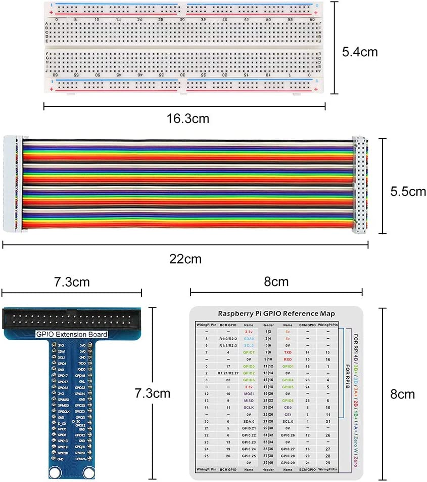 T-Type GPIO Expansion Adapter Board 830 Tie Points Solderless Breadboard 40pin GPIO Flat Ribbon Cable 65pcs Jumper Wire WayinTop RPi GPIO Breakout Expansion Kit for Raspberry Pi 4B 3B+ 3B 2B B+