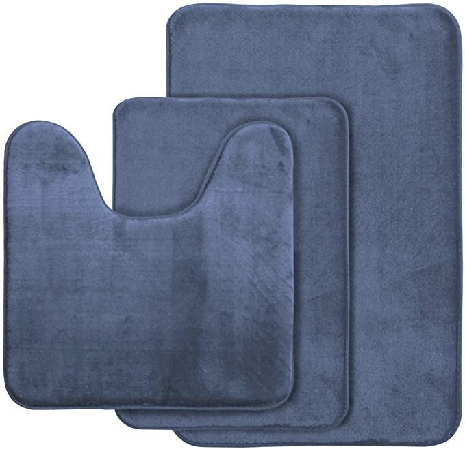 Amazon Com Aoacreations Memory Foam Bath Rug Bathroom Mat Set Of 3 Soft Plush Absorbent Low Pile Includes 1 Large 20 X 32 1 Contour 20 X 20 1 Small 16 X 24