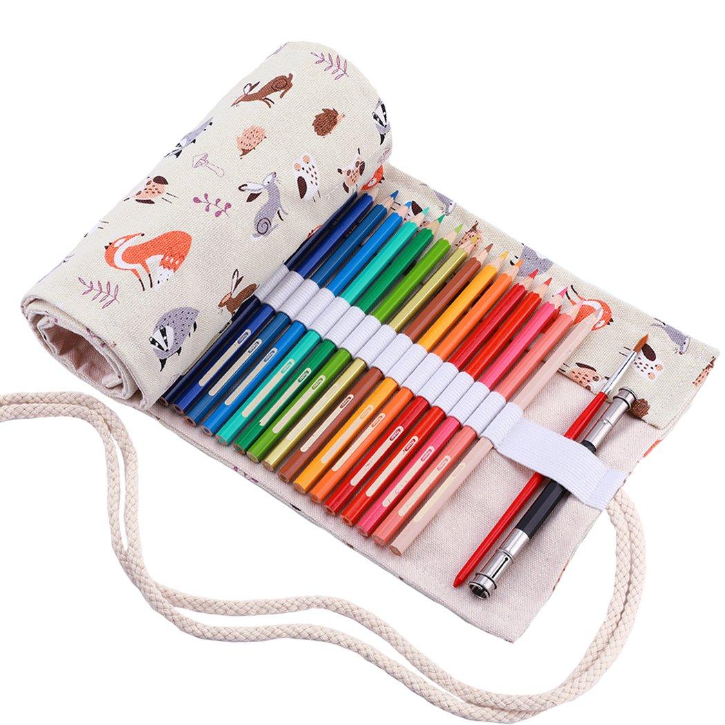 Amoyie - Tela wrap cassa del supporto di matita viaggio portamatite arrorolabile per 36 matite colorate