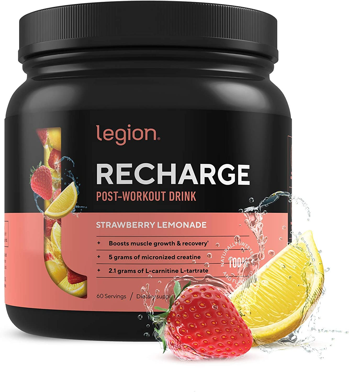 Legion Recharge Post Workout Supplement - All Natural Muscle Builder & Recovery Drink With Micronized Creatine Monohydrate. Naturally Sweetened & Flavored, Safe & Healthy. Strawberry Lemonade, 60 Serv