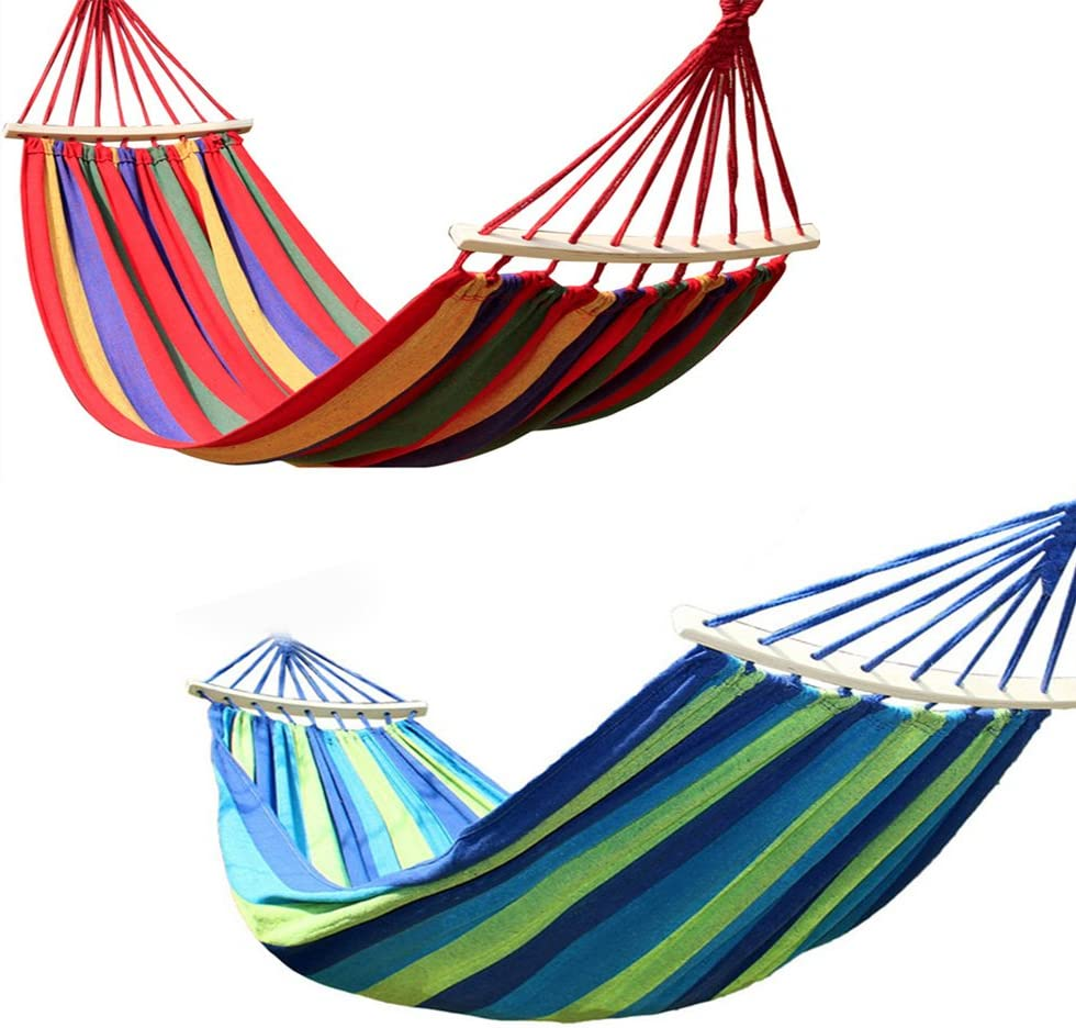 ZREAL Hamaca Jard/ín Colgante Cama Camping Hamaca Paraca/ídas Hamaca Exterior Port/átil Jard/ín Sports Carlos Viaje Camping Swing Lienzo Stripe Colgar los Hamacs