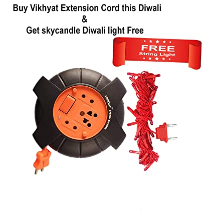 Free String Light with Vikhyat DzireX 5 Meter Wire Extension Board 2 Pin Flex Box with Switch & Indicator, 6 Ampere.240V AC (Red & Black)