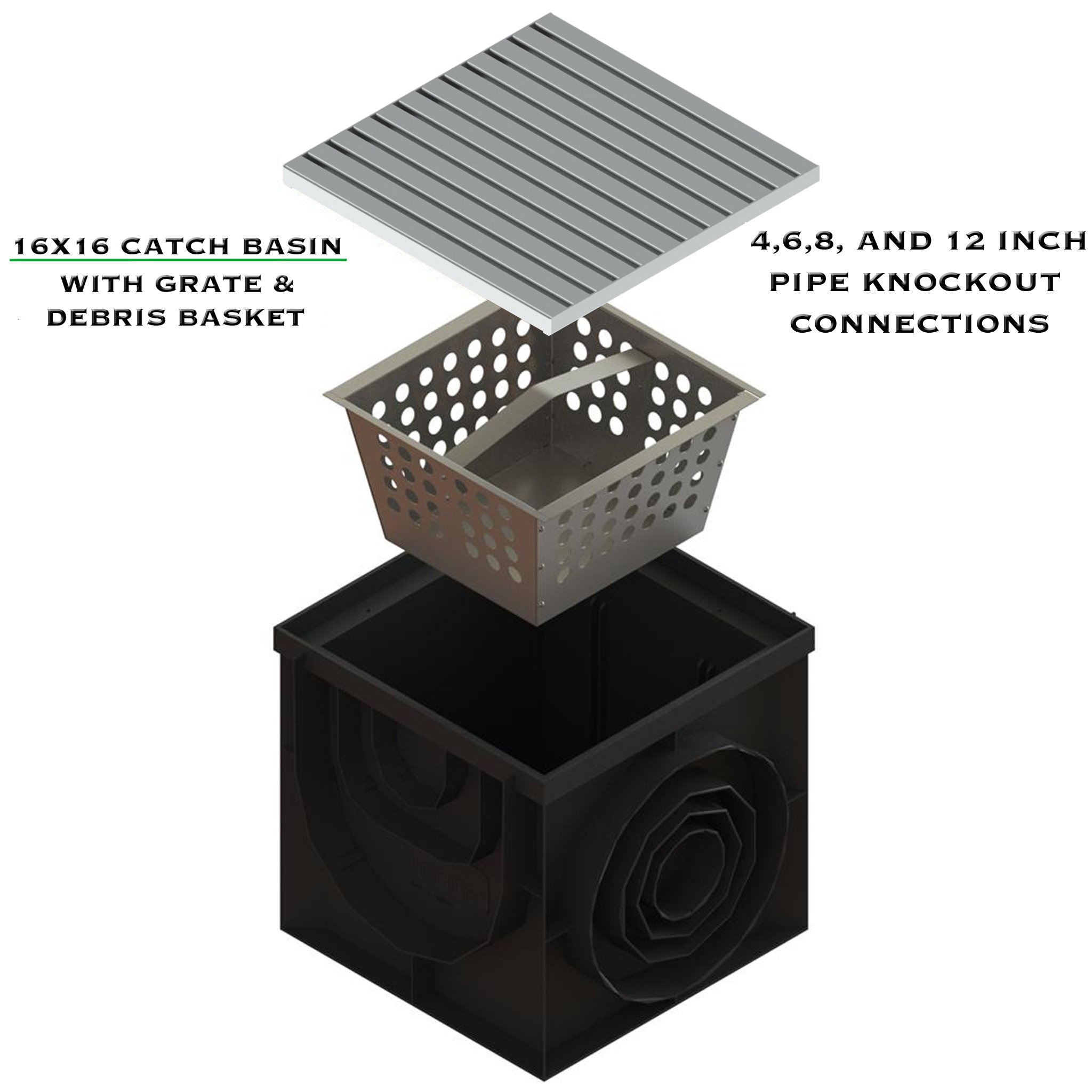 Standartpark - 16x16 Inch Catch Basin. PPE Plastic with 100% Stainless Steel - ADA/Heel Proof Grate and Sediment Basket Included. by Standartpark (Image #5)