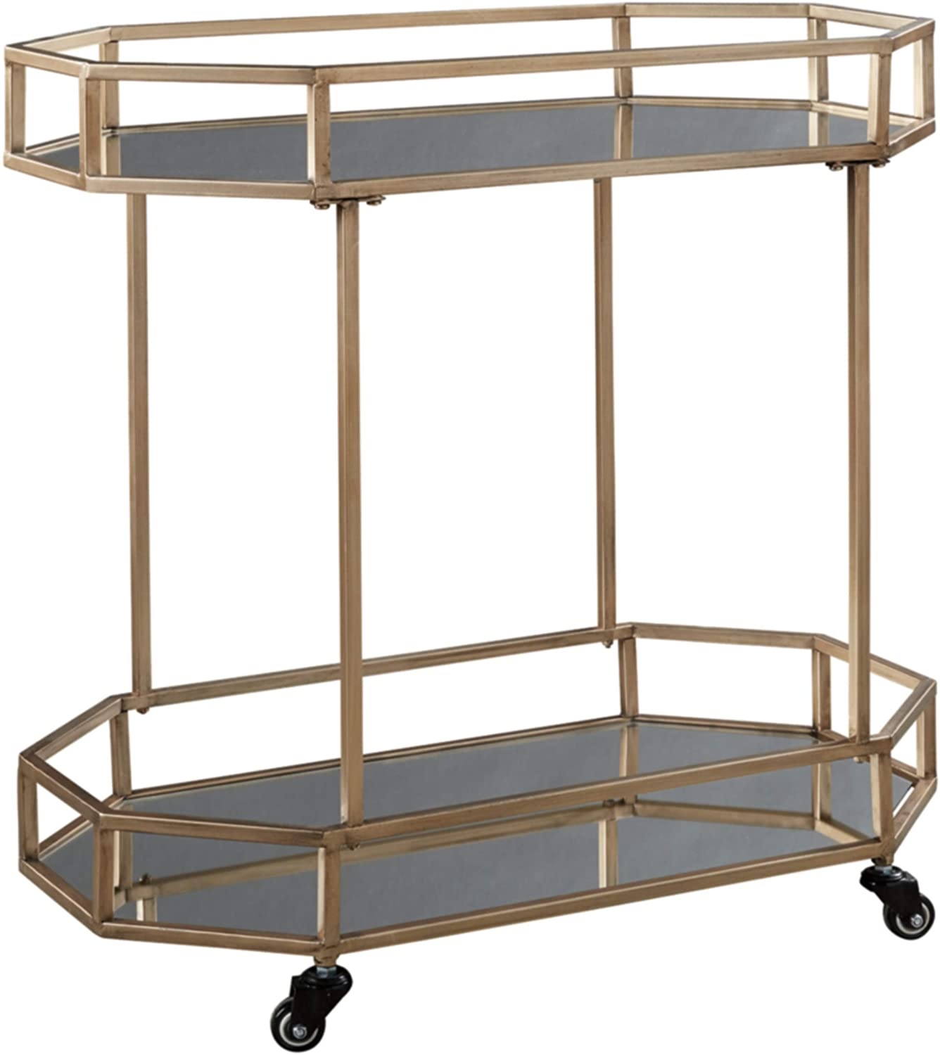 Signature Design by Ashley Daymont Contemporary Glam Bar Cart, Gold Finish