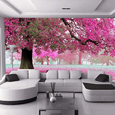 3D Wall Murals Wallpaper Landscape Cherry Blossom Wallpapers Forest Scenery Bedding Room Sofa Tv Backdrop-(W)350x(H)250CM: Baby